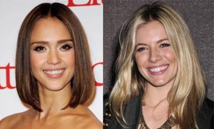 DEN PERFEKTE ANSIKTSFORMEN: Både Jessica Alba og Sienna Miller har oval ansiktsform. Den ovale ansiktsformen er optimal fordi den kler alle frisyrer.