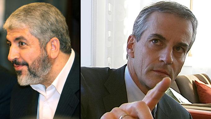 HAR SNAKKET PÅ TELEFON: I all hemmelighet har utenriksminister  Jonas Gahr Støre hatt flere samtaler med topplederen i Hamas, Khaled Meshaal.  (Foto: Scanpix/TV 2 (Montasje))