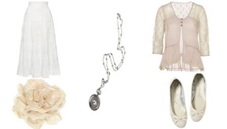 NOSTALGISK: Skjørt (kr 399), blomst (kr 59.50), smykke (kr 179), bluse (kr 399), ballerinasko (kr 179).
