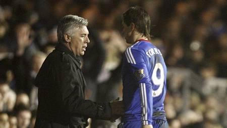 MÅLLØS: Carlo Ancelotti tok Fernando Torres av banen etter 71 minutter. (Foto: Sean Dempsey/Pa Photos)