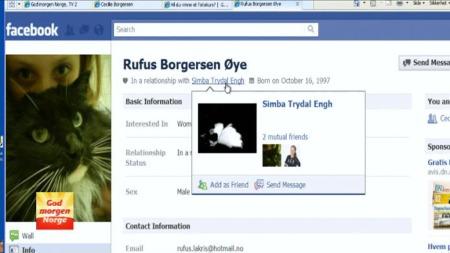 Katten Rufus har også fått seg Facebook-profil. (Foto: God morgen   Norge)