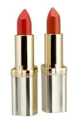 TRUTMUNN: Color Riche fra L'Oréal har intense pigmenter og trendy, røde farger  (feks sesongens knallfargede 337), kr 135. (Foto: blegen.no)