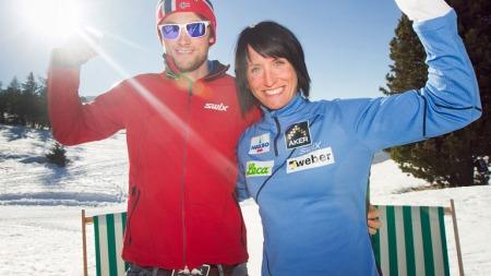SEISER ALM, ITALIA 20110209. Skiløper Petter Northug og Marit Bjørgen i solen i fantastiske italienske Seiser Alm onsdag. Foto: Heiko Junge / Scanpix
