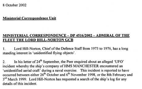Denne faksimilen viser at Lord Hill-Nortons spørsmål om UFO-kontakten   ble behandlet på toppnivå i det britiske forsvaret. (Foto: Faksimile)
