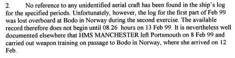 Faksimilen av dette brevet datert 17. oktober 2002 viser at   skipsloggen til «HMS Manchester» var forsvunnet, men at skipet hadde   vært i Nord-Norge da loggen forsvant. (Foto: Faksimile)