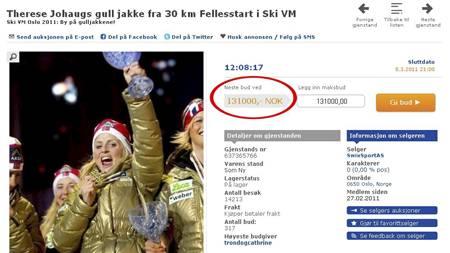 Therese Johaugs gulljakke auksjoneres bort på nettet. (Foto: TV 2/)