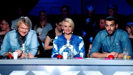 Dommerne i «Norske Talenter» 2011, Alex Rosén, Mia Gundersen og Adil Khan. (Foto: Thomas Reisæter/TV 2)