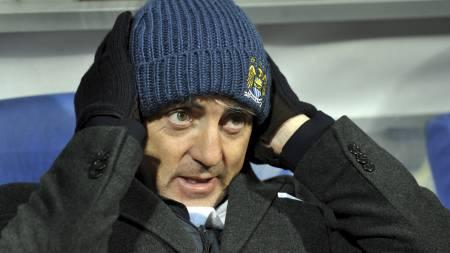 OPPGITT: Manchester City-manager Roberto Mancini. (Foto: SERGEI SUPINSKY/Afp)
