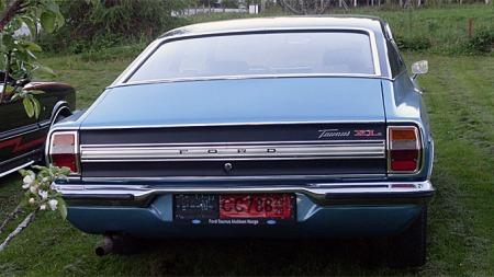 Inspirasjonen fra de amerikanske Fordene var tydelig. Det er   ikke så rent lite Mustang Sportsroof over disse linjene. Foto: Privat
