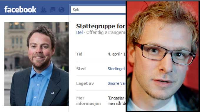STØTTEGRUPPE: Snorre Valen (SV mener Torbjørn Røe Isaksen trenger støttegruppe etter at Høyres stortingsgruppe sa ja til Datalagringsdirektivet. (Foto: Montasje/ Facebook/ Scanpix)