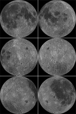 Disse bildene viser hele månen, for hvert bildet er den rotert 60 grader. (Foto: NASA/Goddard/Arizona State University)