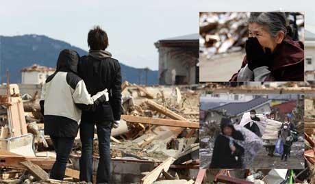 Hundretusener er hjemløse etter katastrofen i Japan. (Foto:   Montasje)