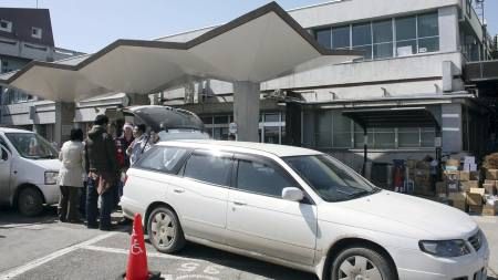 FÅR BEHANDLING: Mannen får behandling ved dette sykehuset i Kesennuma. (Foto: AP/Ap)