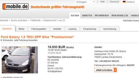 Faksimile fra www.mobile.de