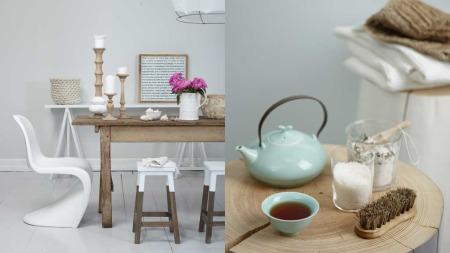 Naturlige materialer i ulike typer tre, glass og lin. Stilen skal være litt landlig. Farge på vegg:  Jotun 9915 Morgendis.  Stylist: Jannicke Kråkvik (Foto: Siren Lauvdal)