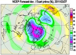 Hullet i ozonlaget 27. mars. Det var 20-40% lavere verdier enn vanlig for årstiden. (Foto: NILU)