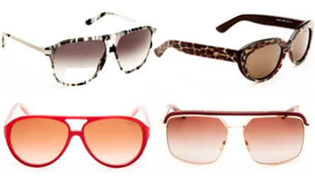 PYNTET: Et par solbriller kan endre både image og attitude, for å si det på godt norsk: Øverst f.v. flerfargede briller med pilotform (kr 1575),  cateyes med dyreprint (kt 2145, YSL), røde 80-tallsinspirerte plastbriller (1170, Ralph Lauren),  metallbriller med markert ramme (kr 3430, Dior).