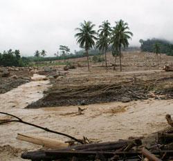 Flomvannet har feid med seg bebyggelse, jord og det meste av vegetasjonen i Krabi. (Foto: Reuters)