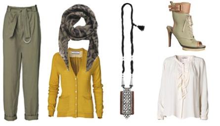 FÅ STILEN: Grønn bukse (1499), skjerf med dyreprint (799), kardigan i brent gul (1499), smykke (kr 1799), sandaler med høye hæler (3199) og hvit bluse med detaljer (kr 1999). Alt fra By Malene Birger.