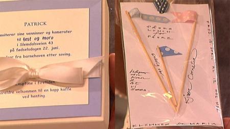 To eksempler på invitasjoner, laget av Maria Hovtuen. Eske med   invitasjon på lokket, og en liten gave inni (til venstre). Enkel, hjemmelaget   invitasjon til høyre. (Foto: God morgen Norge)