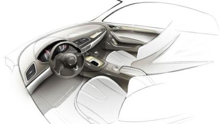 Interiørskissene hinter mot et rene linjer og et ganske minimalistisk dashbord på nye Audi Q3. (Foto: Audi)