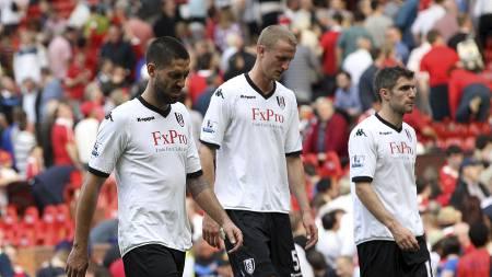 Clint Dempsey, Brede Hangeland og Aaron Hughes, Fulham. (Foto: Nick Potts/Pa Photos)