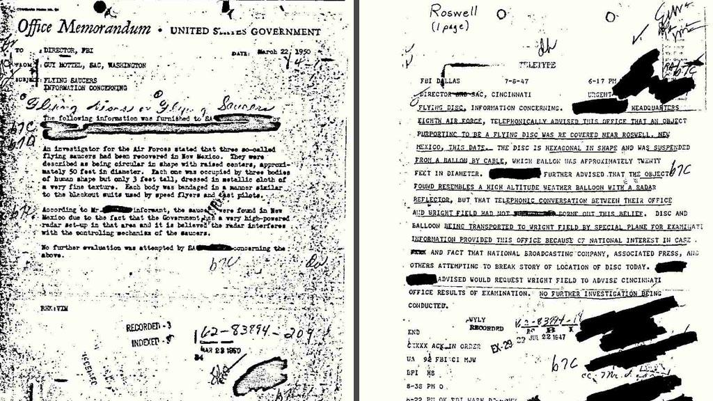 UFO-BEVIS: To dokumenter beviser angivelig hendelsene i Roswell,  New Mexico på 1940-tallet. (Foto: FBI)
