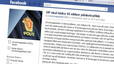 FACEBBOK-RÅD: Utrykningspolitiet bruker Facebook for å nå ut   til flest mulig med gode trafikkråd. (Foto: Skjermdump)