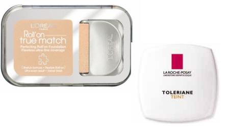 FAST FORM: Roll'on True Match er en kremet foundation   i fast form som skal gi jevn hud uten at sminken synes. Påføres med rulleapplikator   (kr 177, L'Oréal) . Toleriane Teint er en korrigerende komaptfoundation   som skal gi et jevnt, matt og lett pudderaktig resultat. Passer til sensitiv   hud (kr 199, La Roche-Posay).