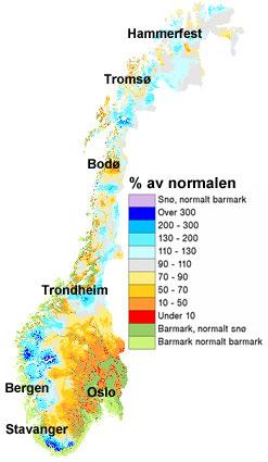 Så mye snø er det i prosent av normalen (1971-2000) 13. april. Grønne, gule og røde farger: mindre. Blå farger: mer. (Foto: senorge.no)