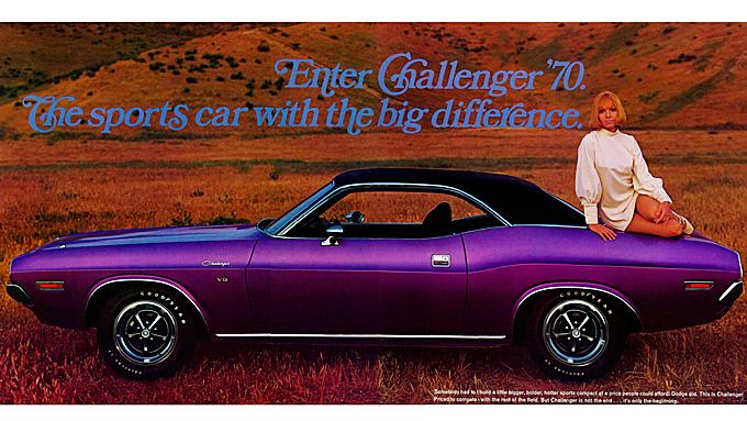 """Chrysler-konsernet gjorde sitt for at trafikkbildet skulle bli litt gladere da muskelbil-epoken var på topp. """"Plum Crazy"""" var den villeste av mange farger med tilsvarende morsomme navn, og ble levert på Dodge Challenger i 1970 og 1971."""