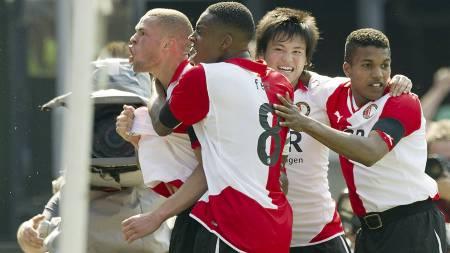Luc Castaignos, Leroy Fer, Ryo Miyaichi, Diego Biseswar - Feyenoord. (Foto: MARCO DE SWART/Afp)