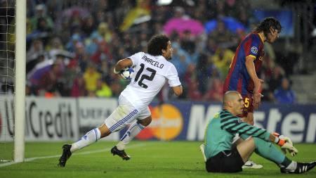 Marcelo utligner for Real Madrid (Foto: LLUIS GENE/Afp)