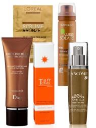 ULIKE BEHOV: F.v. Dior Bronze selvbruner for ansiktet skal gi et langvarig og naturlig resultat. Ved å påføre produktet i flere omganger kan man selv velge hvor mørk farge man vil ha (kr 325, Dior). Sublime Bronze Self Tanning Duo-Wipes Express skal sikre en fin og jevn farge ved hjelp av fruktsyrer. De praktiske serviettene skal også gjøre påføringen enkel (Veil. kr 45, L'Oréal Paris.) Tan Towels selvbruningsspray skal etterlate huden ren og fri for oljer. Inneholder Aloe Vera. Vitamin E med antioksidant-egenskaper og Pro-vitamin B5 som skal forebygge tørrhet i huden og sikre en sunn og frisk glød (kr 69, Blivakker.no). Ambre Solaire No Trace Bronzer Face Spray skal tørke raskt, slik at det ikke skal være nødvendig å bruke hendene (Veil. kr 79,50, Garnier).