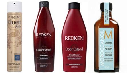 DE BESTE SKJØNNHETSPRODUKTENE - HÅR: Hårsprayen Elnett Satin fra L¿Oréal Paris gir langvarig hold uten å klebe (kr 65), Redken Color Extend sjampo og balsam beskytter og tilfører næring til farget hår (Color Extend Shampoo kr 268, Color Extend Conditioner kr 280), håroljen Morocconoil Treatment (kr 299).