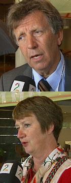 SKEPTISKE: Stavanger-kommunalråd Per Armand Thorbjørnsen (V)   og direktør Gudrun Elisabeth Grindaker i KS. (Foto: TV 2)