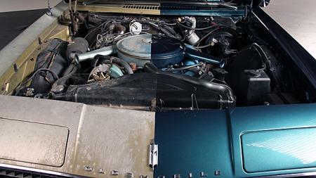 Teknikken ble gått over først, og bilen fikk service på de punkter hvor det behøvdes etter 45 års tjeneste. Deretter ble halvparten pusset opp finishmessig, mens den andre halvparten fikk vise 45 års slitasje. Photo courtesy of Precision Restorations