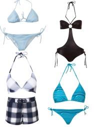 SMAL OG LANG: F.v. Bikini fra Gant by Michael Bastian (kr 1100), sort badedrakt fra Cubus (kr 179), polstret halterneck fra Cubus (kr 149) og boxershorts fra samme sted (kr 179), knytebikini fra Bik Bok (kr 179 for topp og 79 for truse).