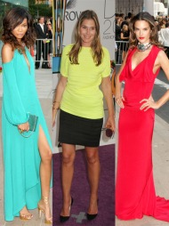 SYRLIG: Chanel Iman stilte i en turkis kjole fra MCMG Max Azria. En perfekt farge for å fremheve hennes solbrune hud. Kosmetikkarving Aerin Lauder gikk for en syrlig, sitron farget kjole fra Lanvin, mens Alessandra Ambrossio gikk for en klassisk, rød kjole med åpen rygg, fra prisvinner Prabal Gurung.