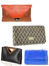 CLUTCHVESKEN: Bruker du en clutch er du mest sannsynlig selvsikker.   Clutch i «colorblocking» fra ASOS (ca. kr 180), mønstret clutch fra H&M   (kr 99), clutch i imitert slangeskinn (kr 199/Gina Tricot) og petroleumsblå   clutch fra Zara (kr 959).