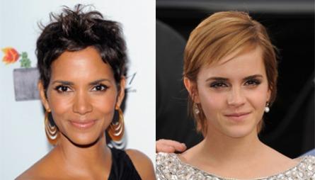 HELT KORT: Både Halle Berry og Emma Watson har valgt en kort hårvariant.  (Foto: FOTO: Getty Images Collage: Martine Onstad Happy Day)