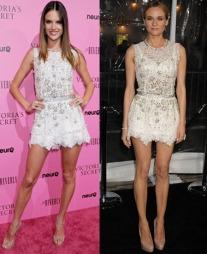 HVEM KLER DEN BEST? Supermodell Alessandra Ambrosio kom i en   kort, hvit blondekjole fra Dolce & Gabbana under Victoria's   Secrets supermodellansering. Det samme gjorde Diane Kruger på en filmpremiere   i Los Angels. Men hvem kler kjolen best?