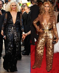 HVEM KLER DEN BEST? Gwen Stefani ankom filmfestivalen i Cannes   i en svart jumpsuit med paljetter signert Stella McCartney. Supermodell   Iman valgte samme antrekk, men med annen farge under Alexander McQueen   Savage Beauty Costume Institute Gala