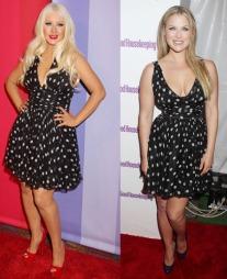 HVEM KLER DEN BEST? Christina Aguilera i svart og hvit retrokjole   med polkadottmønster. Skuespillerinne Ali Larter i samme kjole. Men hvem   kler den best?