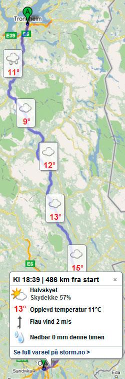 Slik blir været mellom Trondheim og Oslo lørdag dersom du kjører bil og starter klokken 12. (Foto: storm.no/trafikk)