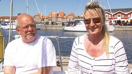 Tore og Bente Elmann Wangen fra Vestby i Akershus besøker Skagen   med sin 36-fots seilbåt (Foto: Erik Manshaus)