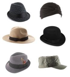 FIN MED HATT: (Øverst f.v.) Svart hatt med blomstrete mønster  (kr 235, Accessorize), svart turban (kr 120, asos.com), beige hatt med svart sløyfe(kr 250, asos.com), svart hatt med svart sløyfe(kr 200, asos.com), grå hatt med svart sløyfe og fjær(kr 200, asos.com), militærgrønn caps(kr 49, H&M).  (Foto: Collage: Martine Onstad)