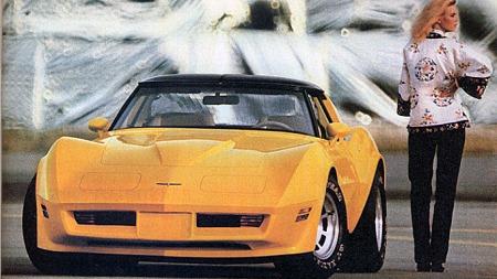 En av historiens tøffeste Corvette-plakater var denne utbrett-brosjyren fra 1980. En plakat som hver gang vi ser den får oss til å lure på om vi egentlig burde lakkert vår egen 1980 Corvette gul... Illustrasjon: GM