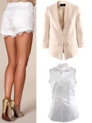 (Ø.f.v) Hvit blondeshorts(kr 299 fra nelly.com), pudderrosa blazer(kr 149, h&m), hvit, kortarmet skjorte(kr 249 fra ellos).  (Foto: Collage: Martine Onstad)
