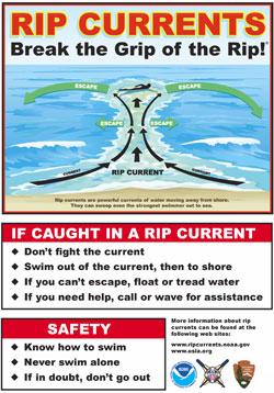 Slike varselplakater med råd om hvordan du skal oppføre deg finner du på mange strender både i USA og andre steder. (Foto: NOAA)